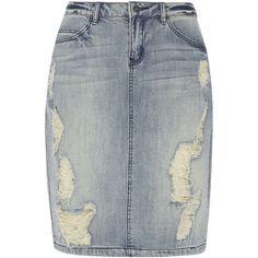 Dorothy Perkins **Vero Moda Blue Denim Skirt ($57) ❤ liked on Polyvore featuring skirts, mini skirts, blue, mini skirt, denim mini skirt, short denim skirts, blue denim mini skirt and button up skirt