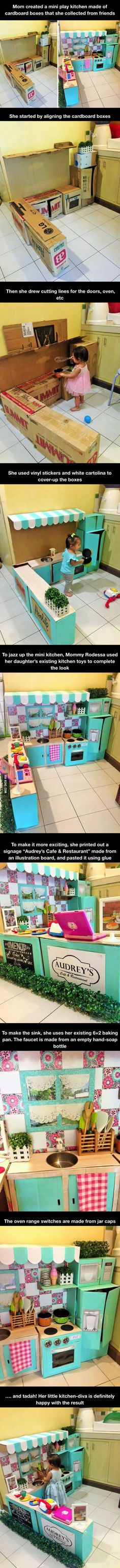This Mom Created A Mini Play Kitchen Made Of Cardboard Boxes For Her Toddler is part of Cardboard crafts Kitchen - More memes, funny videos and pics on Cardboard Kitchen, Cardboard Box Crafts, Cardboard Playhouse, Cardboard Toys, Cardboard Furniture, Projects For Kids, Diy For Kids, Diy Karton, Mini Kitchen