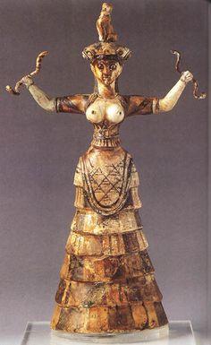 SZTUKA EGEJSKA: Figurka bogini z wężami z Knossos