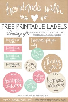 Printable Labels to Kick Up Your Packaging! {Handmade Collection} Free Printable Labels to Kick Up Your Packaging! {Handmade Collection} - Free Printable Labels to Kick Up Your Packaging! Free Planner, Printable Planner, Free Printables, Gift Labels, Gift Tags, Labels Free, Soap Labels, Free Label Templates, Thank You Labels