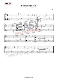 Scarborough Fair is a traditional English ballad. Here is a simple, easy and very beautiful arrangement for solo piano. The high-resolution score is available at easypianoscores.com Piano Sheet Music Pdf, Piano Score, Scarborough Fair, Simon Garfunkel, Easy Piano, Folk, English, Songs, Traditional