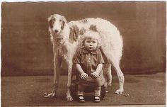 a vintage photo of a girl and a borzoi