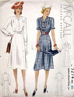 Womens Plus Size Dress 1930s Fashion, Fashion Mode, Look Fashion, Retro Fashion, Vintage Fashion, Fashion Design, Vintage Dress Patterns, Dress Sewing Patterns, Clothing Patterns