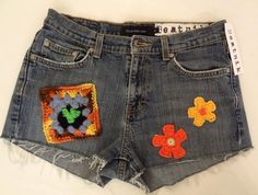 Appliqued Crochet Boho Hippie Frayed Jean Cut Off by DakinisChoice, $39.00