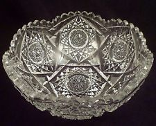 Exceptional Large American Brilliant Period Cut Crystal Bowl, Antique