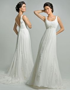 Vintage Round Neckline Empire Waist Chiffon Pleated With Straps Beads Designer Wedding Dress (DWD-110)