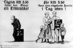 During this period, the German economy experienced a depression, leaving most families struggling financially. Because of financial strives, posters like this appealed to many German people. In this poster, it shows that a healthy family of five can live on the same amount of money as one genetically ill person. Posters similar to this informed citizens that at least from a financial standpoint, people like this man were a burden to society, and it would be much easier to rid the world of…