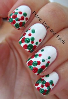 Peace, Love & Polish - Christmas Nail Art. I like the idea of the dots on a natural nail too