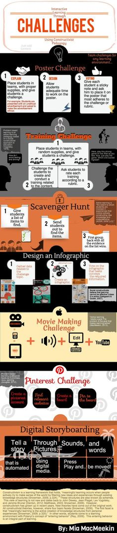 Educational infographic & data visualisation Challenge Ideas Infographic Description Interactive learning through challenges. Instructional Technology, Instructional Strategies, Instructional Design, Teaching Strategies, Teaching Tips, Educational Technology, Instructional Coaching, Problem Based Learning, Project Based Learning