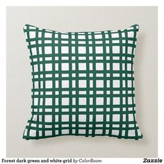 Forest dark green and white grid throw pillow Green Cushions, Custom Pillows, Kiwi, Home Projects, Grid, Porch, Art Pieces, Throw Pillows, Make It Yourself