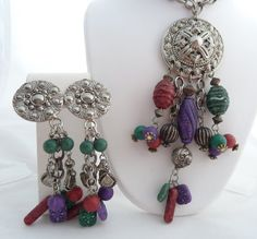 1980's Big Etruscan Style Necklace and by PattycatsTreasures, $25.00