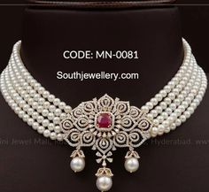 pearl choker with diamond pendant
