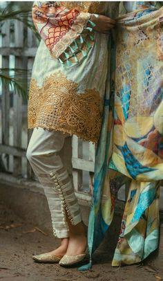 check out that simple yet elegant pakistani trousers Pakistani Dress Design, Pakistani Outfits, Indian Outfits, Stylish Dress Designs, Stylish Dresses, Casual Dresses, Salwar Designs, Blouse Designs, Pants For Women
