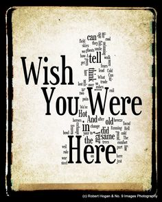 Wish You Were Here Lyrics  Pink Floyd Word Art