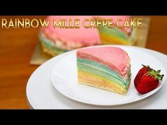 Kitchen How to make this beautiful 24 layers Rainbow Mille Crepe Cake Rainbow Crepes Ingredients : Unsalted. Crepe Ingredients, Crepe Cake, Mille Crepe, Heavy Whipping Cream, Recipe Notes, Lady, Cake Recipes, Sweet Treats, Cooking Recipes