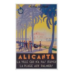 #Alicante Spain; Vintage Travel Poster - #travel #art