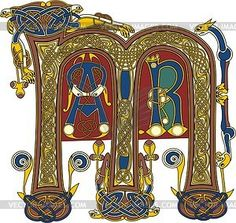 Book of Kells.   Celtic initial letter M and lesser initials AR - vector clipart