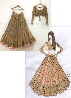 Shop brown net with precipitant lace work & embroidery work designer lehenga choli online.This set is features a brown blouse in net. Fashion Figure Drawing, Fashion Drawing Dresses, Fashion Illustration Dresses, Dress Design Drawing, Dress Design Sketches, Fashion Design Sketches, Fashion Design Books, Lehenga Choli, Sari