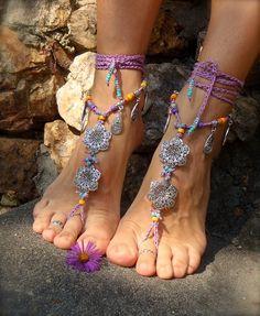 Gypsy Crochet | GYPSY purple BAREFOOT Sandals Anklets Crochet SANDALS Wedding Barefoot ...