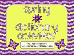 Five for Friday and Spring Dictionary Freebie Dictionary Activities, Dictionary Skills, Teaching Vocabulary, Word Work, Lettering, Writing, Learning, Words, Language Arts