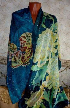 """Купить Батик палантин""""Теплый вечер""""188-68см,крепдешин.100%шёлк. - бирюзовый, цветочный, хризантема, цветы, Батик"""
