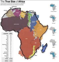 The true size of Africa is truly astonishing. Africa is larger in area than the USA, China, India, Japan and all of Europe combined. Compare the immense size of Africa to other familiar land masses.