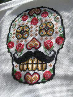 sugar skull cross-stitch [pattern by bombastitch on etsy]
