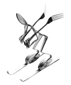 Another great find on Spoon Downhill Skier Sculpture by Forked Up Art Metal Projects, Welding Projects, Metal Crafts, Fork Art, Spoon Art, Scrap Metal Art, Metal Wall Art, Stainless Steel Utensils, Silverware Art