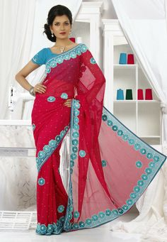 Be The Center Of Attraction With this Pink Color Chiffon Designer Saree