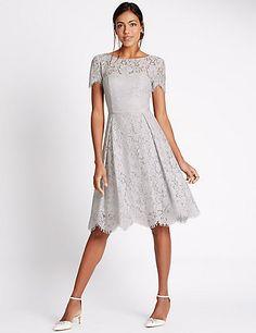 Short Sleeved Lace Skater Dress   M&S