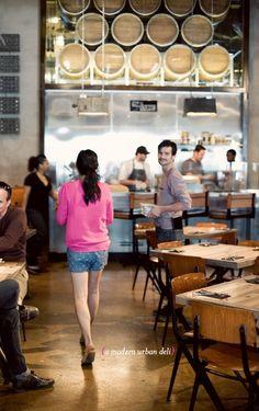 oh joy {eats} umamicatessen in downtown la. - Oh Joy! Restaurant Lighting, Cafe Restaurant, Restaurant Design, Los Angeles Restaurants, Downtown Los Angeles, Deli Shop, Corner Cafe, Vacation Wishes, Cafe Bar