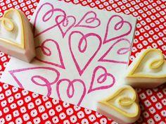 love heart stamps. hand carved rubber stamp  hand door talktothesun, $12,00