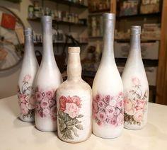 Handmade Home, Bottle Crafts, Decoupage, Home Decor, Decorated Bottles, Decoration Home, Room Decor, Home Interior Design, Home Decoration