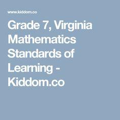 Grade 7, Virginia Mathematics Standards of Learning - Kiddom.co