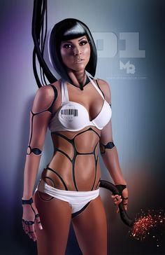 cyborg, robot girl, female bot  body paint idea
