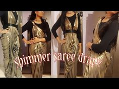 How to wear stylish saree to look slim/bollywood lycra saree drape in 4 style/Lycra saree drape Lace Saree, Sari Blouse, Drape Dress Pattern, Saree Wearing Styles, Drape Sarees, Stitching Dresses, How To Wear Leggings, Kids Frocks, Stylish Sarees