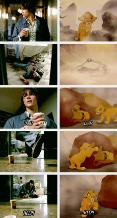 This is terrible, yet so perfect, and just. Hang on, what's with all the Supernatural Lion King Crossover pictures? Am I missing something? In My Time Of Dying Sam Winchester, Winchester Brothers, Castiel, Sam Dean, Fandoms, Emmanuelle Vaugier, Supernatural Memes, Supernatural Disney, Fandom Crossover