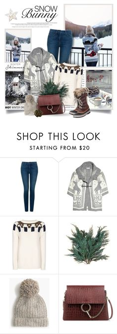 """""""Snow Bunny Style"""" by thewondersoffashion ❤ liked on Polyvore featuring NYDJ, See by Chloé, MANGO, J.Crew, Chloé and SOREL"""
