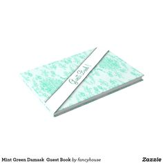 Mint Green Damask  Guest Book