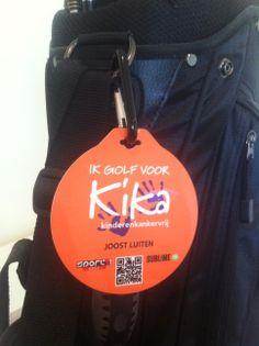 Golftaslabels voor de actie Ik Golf voor Kika, speciale productie met karabijnhaakje voor bevestiging aan de golftas: http://www.bagtags.nl