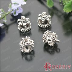 21278-Fashion-Jewelry-Findings-Charms-Pendants-Alloy-Antique-Silver-Crown-10PCS