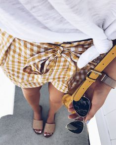 #summer #outfits White Tee + Yellow Gingham Short + Nude Sandals // Shop This Outfit In The Link