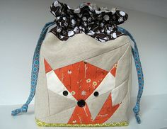 This darling Fox pattern is so cute. Here he is made into a bag.