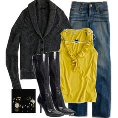 charcoal grey is great with the mustardy yellow too! #jeans #boots