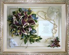great keepsake from a wedding -- bouquet, boutonniere, garter, rosary, invitation, and ring satchel.
