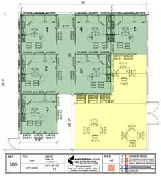 office furniture layout with lots of common office areas