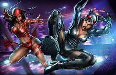 Catwoman vs Elektra by Aioras.deviantart.com on @deviantART