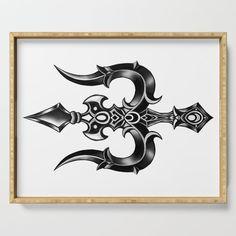 Trishula (Shiva's trident) Serving Tray by ashdei Maa Tattoo Designs, Trishul Tattoo Designs, Shiva Tattoo Design, Hindu Tattoos, God Tattoos, Mahadev Tattoo, Trident Tattoo, Ganesha Tattoo, Shiva Art