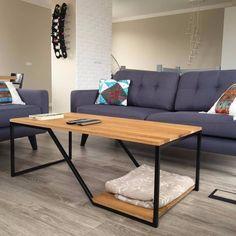 Designerski stolik kawowy dębowy ława loft Coffee, Furniture, Design, Home Decor, Living Room, Kaffee, Decoration Home, Room Decor, Cup Of Coffee