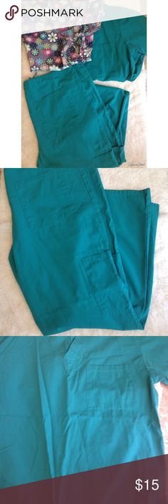 3 piece bundle Mc medgear medical scrubs size M These are in really good condition. Two tops and one bottom. Green and floral tops, one has  a back waist tie for shape and the other one is straight. Both have pockets, pants have a side kind of cargo pocket and a back pocket. Drawstring on waist for secure fit MG medgear Pants Straight Leg